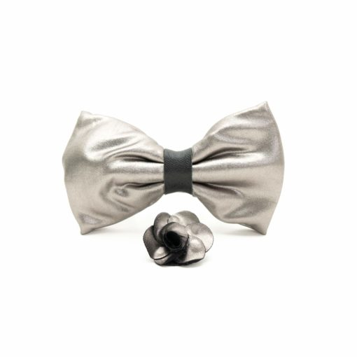 Shiny Silver faux leather bow tie with black knot, with matching faux leather pin.